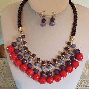 Red Purple mix bead dangle necklace earring set